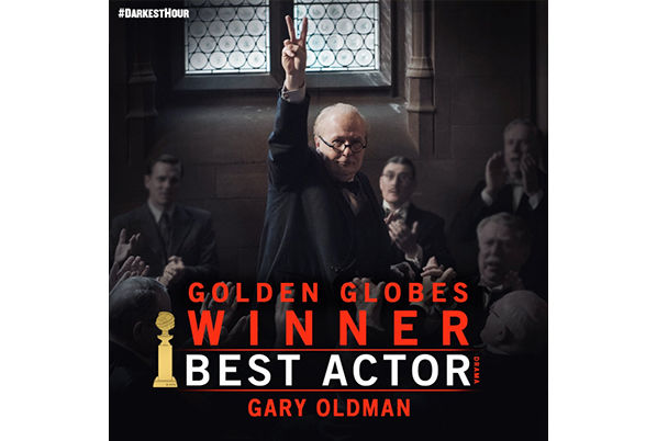 Gary Oldman wint Golden Globe voor rol in Darkest Hour
